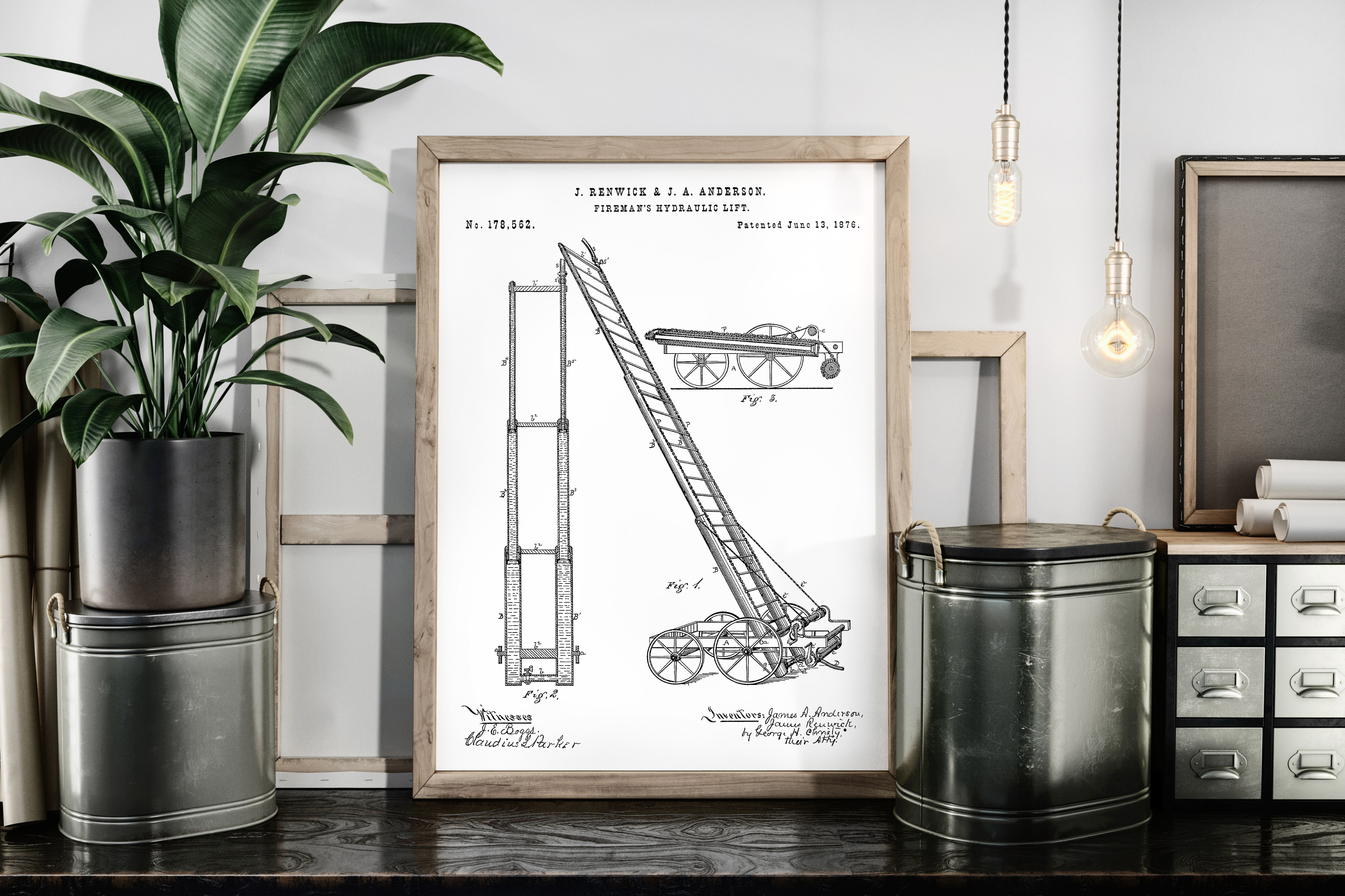 Fireman Hydraulic Lift Patent Art Poster Graphic By Antique