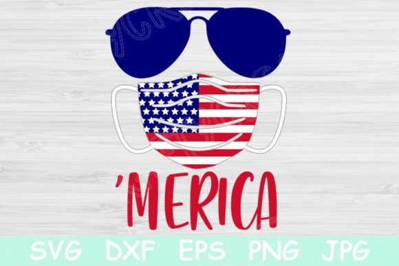 Download Free Flag Mask Merica Svg 4th Of July Svg Graphic By for Cricut Explore, Silhouette and other cutting machines.