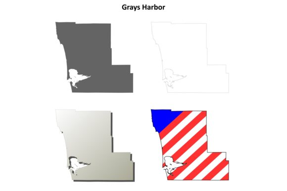 Download Free Grays Harbor County Outline Map Set Graphic By Davidzydd for Cricut Explore, Silhouette and other cutting machines.