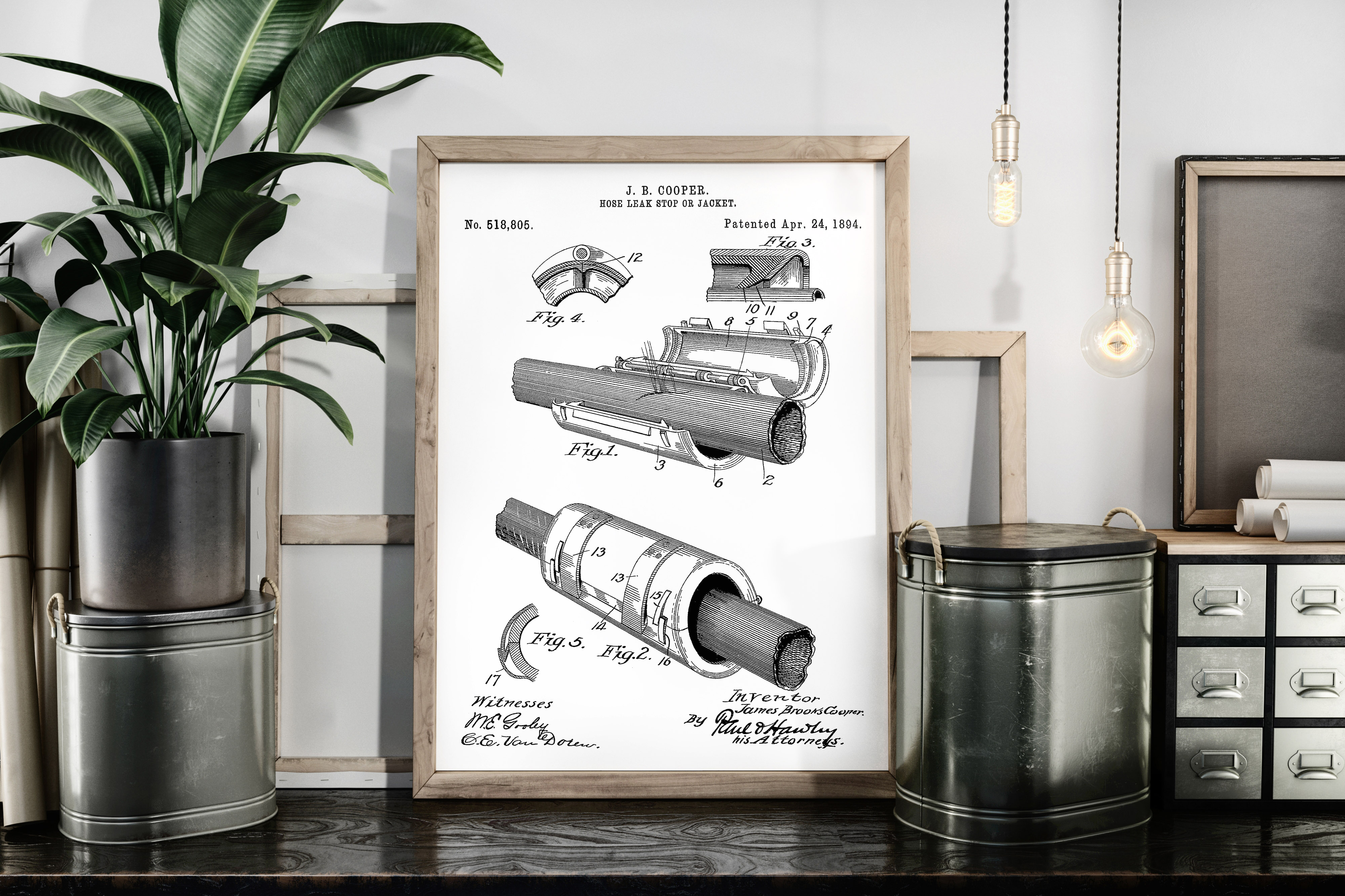 Download Free Hose Leak Stopper Patent Art Poster Graphic By Antique Pixls for Cricut Explore, Silhouette and other cutting machines.