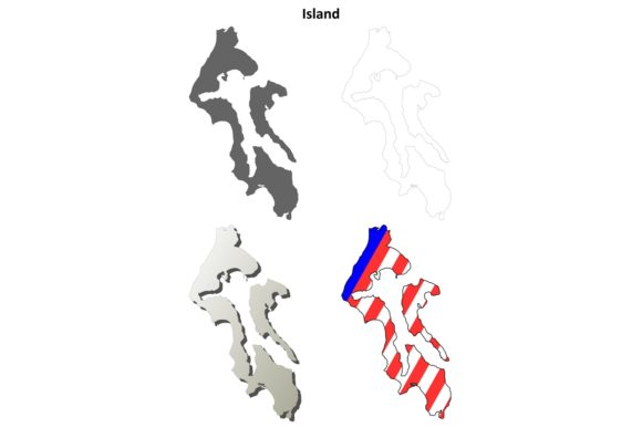 Download Free Island County Outline Map Set Graphic By Davidzydd Creative Fabrica for Cricut Explore, Silhouette and other cutting machines.