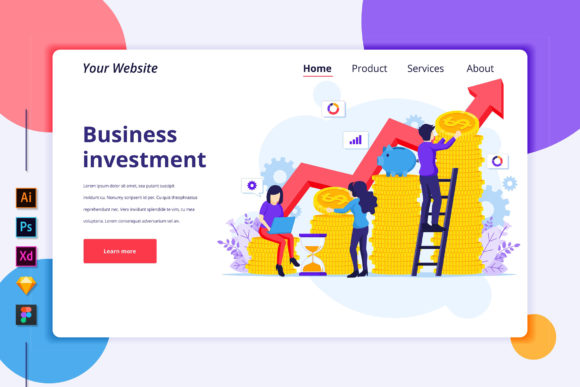 Landing Page of Business Investment Graphic Landing Page Templates By agnyhasya.studios