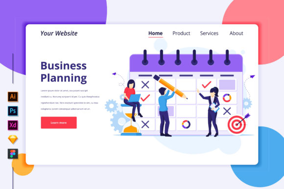 Landing Page of Business Schedule Graphic Landing Page Templates By agnyhasya.studios