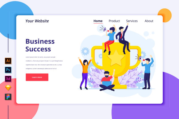 Landing Page of Business Success Graphic Landing Page Templates By agnyhasya.studios