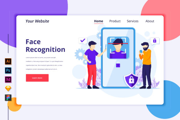 Landing Page of Face Recognition Graphic Landing Page Templates By agnyhasya.studios