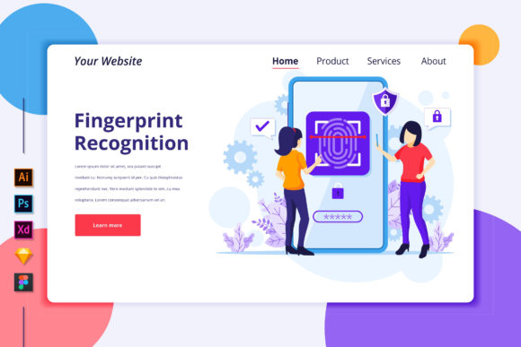 Landing Page of Fingerprint Recognition Graphic Landing Page Templates By agnyhasya.studios