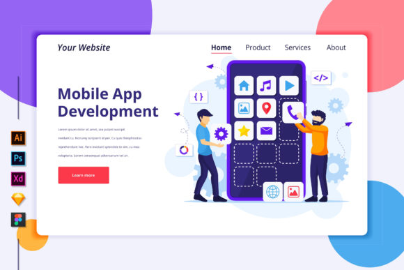 Download Free Landing Page Of Mobile App Development Graphic By Agnyhasya for Cricut Explore, Silhouette and other cutting machines.