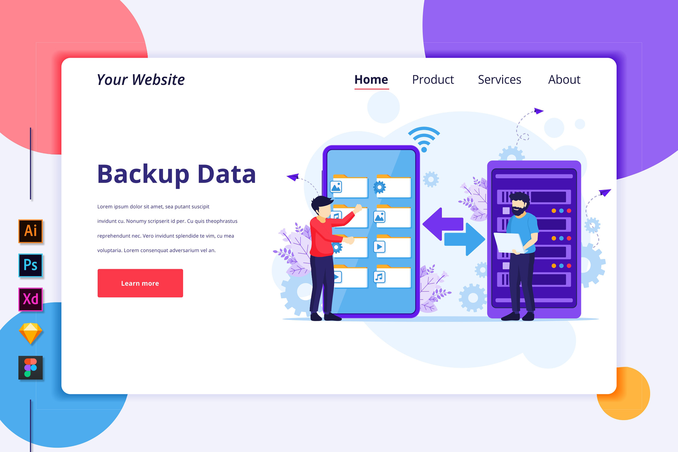 Download Free Landing Page Template Of Backup Data Graphic By Agnyhasya for Cricut Explore, Silhouette and other cutting machines.