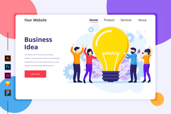 Landing Page Template of Business Idea Graphic Landing Page Templates By agnyhasya.studios