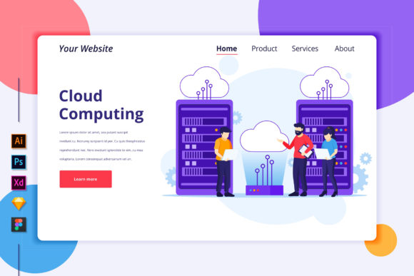 Download Free Landing Page Template Of Cloud Computing Graphic By Agnyhasya Studios Creative Fabrica for Cricut Explore, Silhouette and other cutting machines.