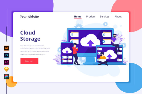 Landing Page Template of Cloud Computing Graphic Landing Page Templates By agnyhasya.studios