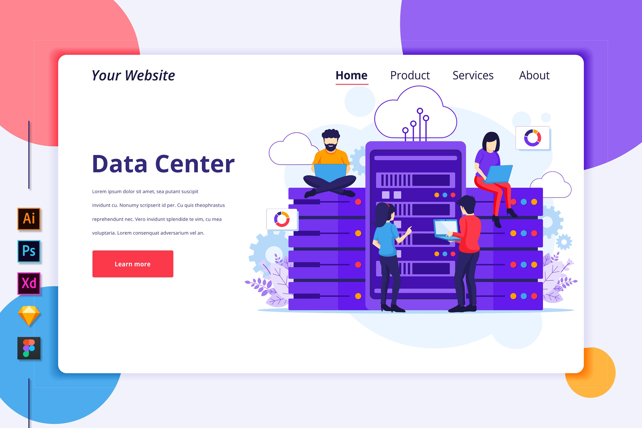 Download Free Landing Page Template Of Data Center Graphic By Agnyhasya for Cricut Explore, Silhouette and other cutting machines.