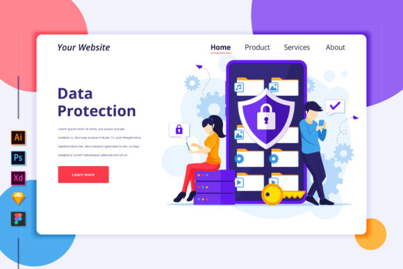 Download Free Landing Page Template Of Data Protection Graphic By Agnyhasya for Cricut Explore, Silhouette and other cutting machines.
