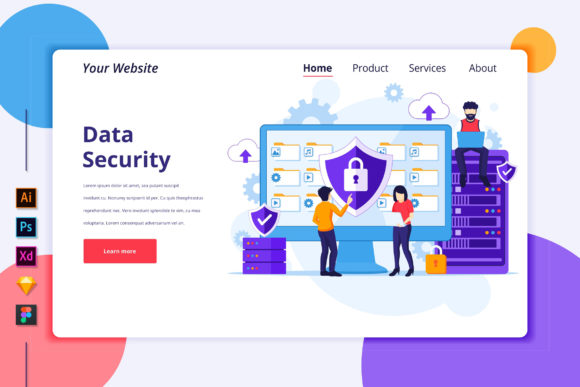 Landing Page Template of Data Security Graphic Landing Page Templates By agnyhasya.studios