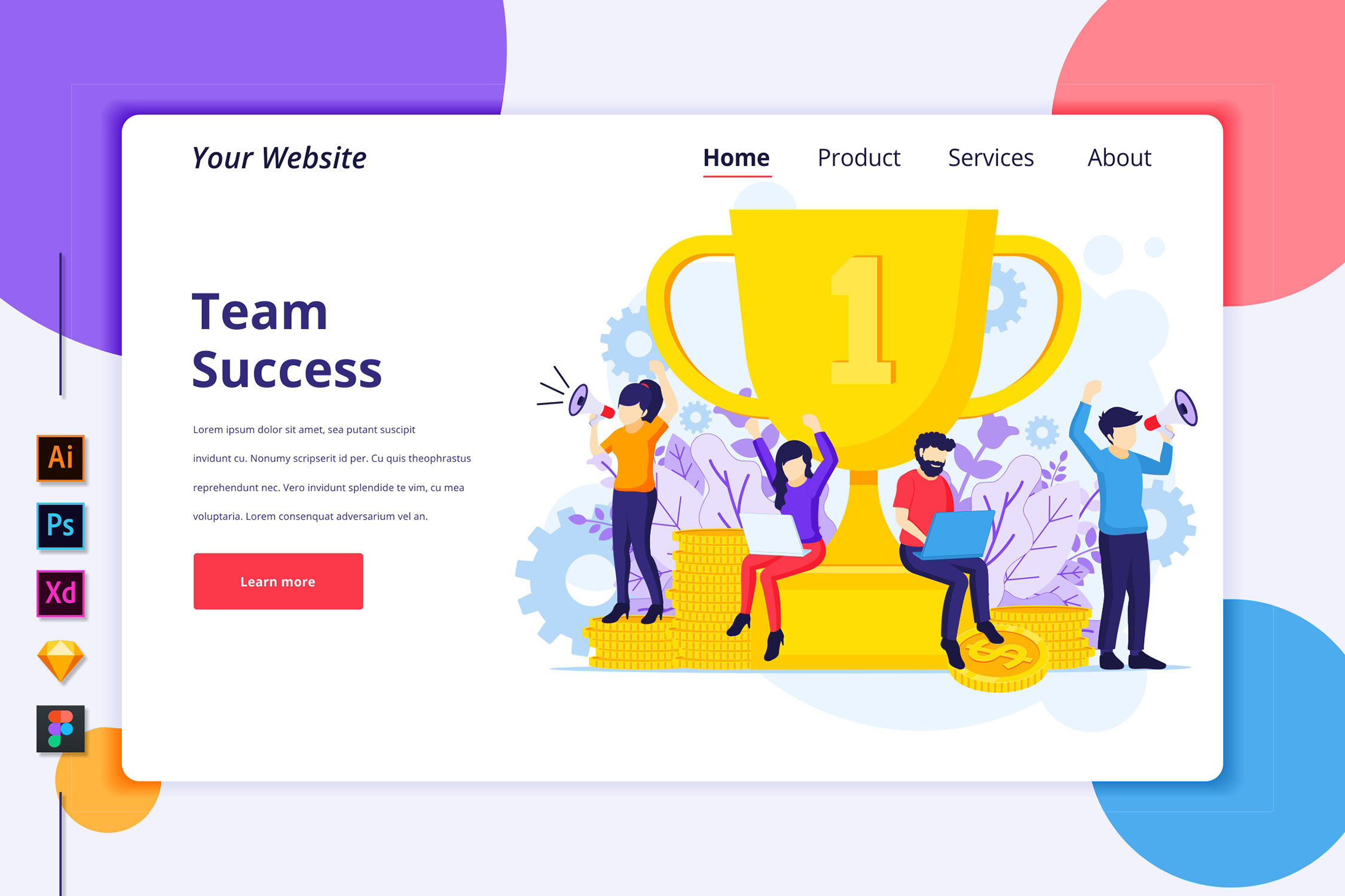 Download Free Landing Page Template Of Team Success Graphic By Agnyhasya for Cricut Explore, Silhouette and other cutting machines.