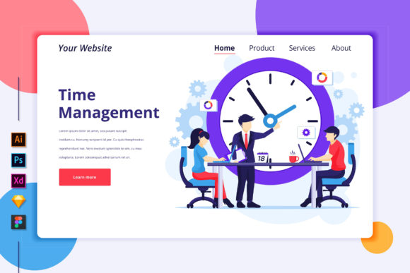 Download Free Landing Page Template Of Time Management Graphic By Agnyhasya for Cricut Explore, Silhouette and other cutting machines.