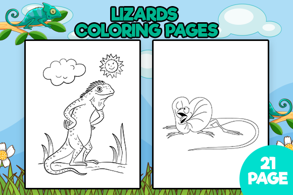 Download Free Lizards Coloring Pages Graphic By Mk Designs Creative Fabrica for Cricut Explore, Silhouette and other cutting machines.