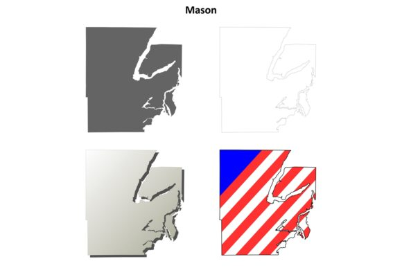 Download Free Mason County Outline Map Set Graphic By Davidzydd Creative Fabrica for Cricut Explore, Silhouette and other cutting machines.