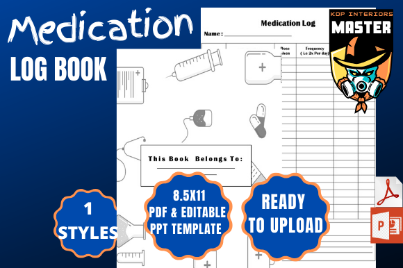 Download Free Medication Log Book Graphic By Kdp Interiors Master Creative for Cricut Explore, Silhouette and other cutting machines.