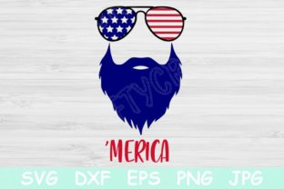 Download Free Merica Beard 4th Of July Graphic By Tiffscraftycreations for Cricut Explore, Silhouette and other cutting machines.