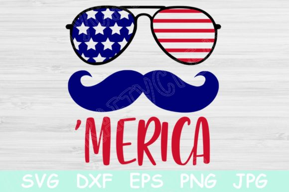 Download Free Merica Mustache 4th Of July Graphic By Tiffscraftycreations Creative Fabrica for Cricut Explore, Silhouette and other cutting machines.
