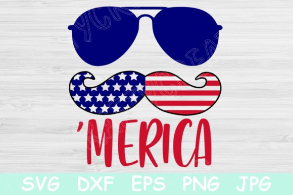 Download Free Merica 4th Of July Patriotic Graphic By Tiffscraftycreations for Cricut Explore, Silhouette and other cutting machines.