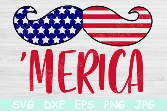 Download Free Mustache Merica 4th Of July Graphic By Tiffscraftycreations SVG Cut Files