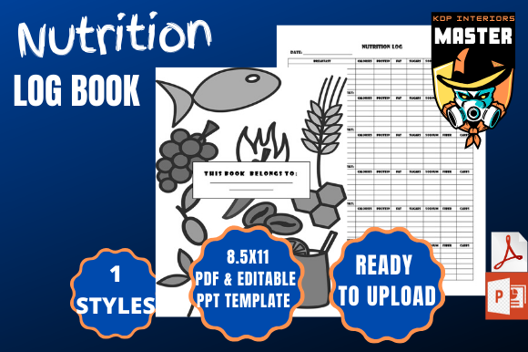Print on Demand: Nutrition Log Book Graphic KDP Interiors By KDP_Interiors_Master