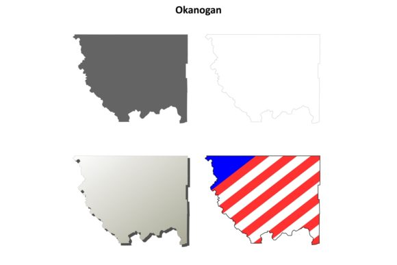 Download Free Okanogan County Outline Map Set Graphic By Davidzydd Creative Fabrica for Cricut Explore, Silhouette and other cutting machines.