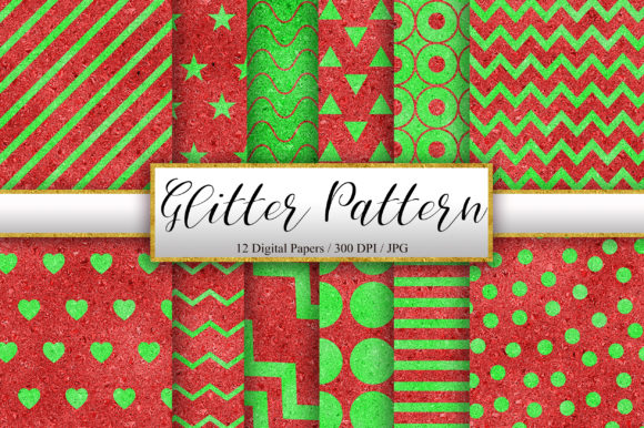 Red Green Glitter Pattern Background Graphic Patterns By PinkPearly