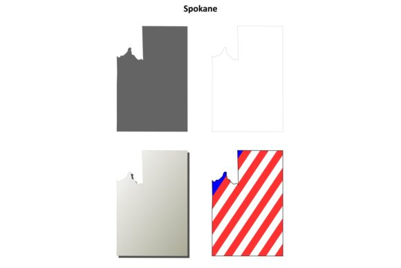 Download Free Spokane County Outline Map Set Graphic By Davidzydd Creative for Cricut Explore, Silhouette and other cutting machines.