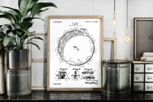 Download Free Tambourine 1922 Music Patent Art Poster Graphic By Antique Pixls for Cricut Explore, Silhouette and other cutting machines.