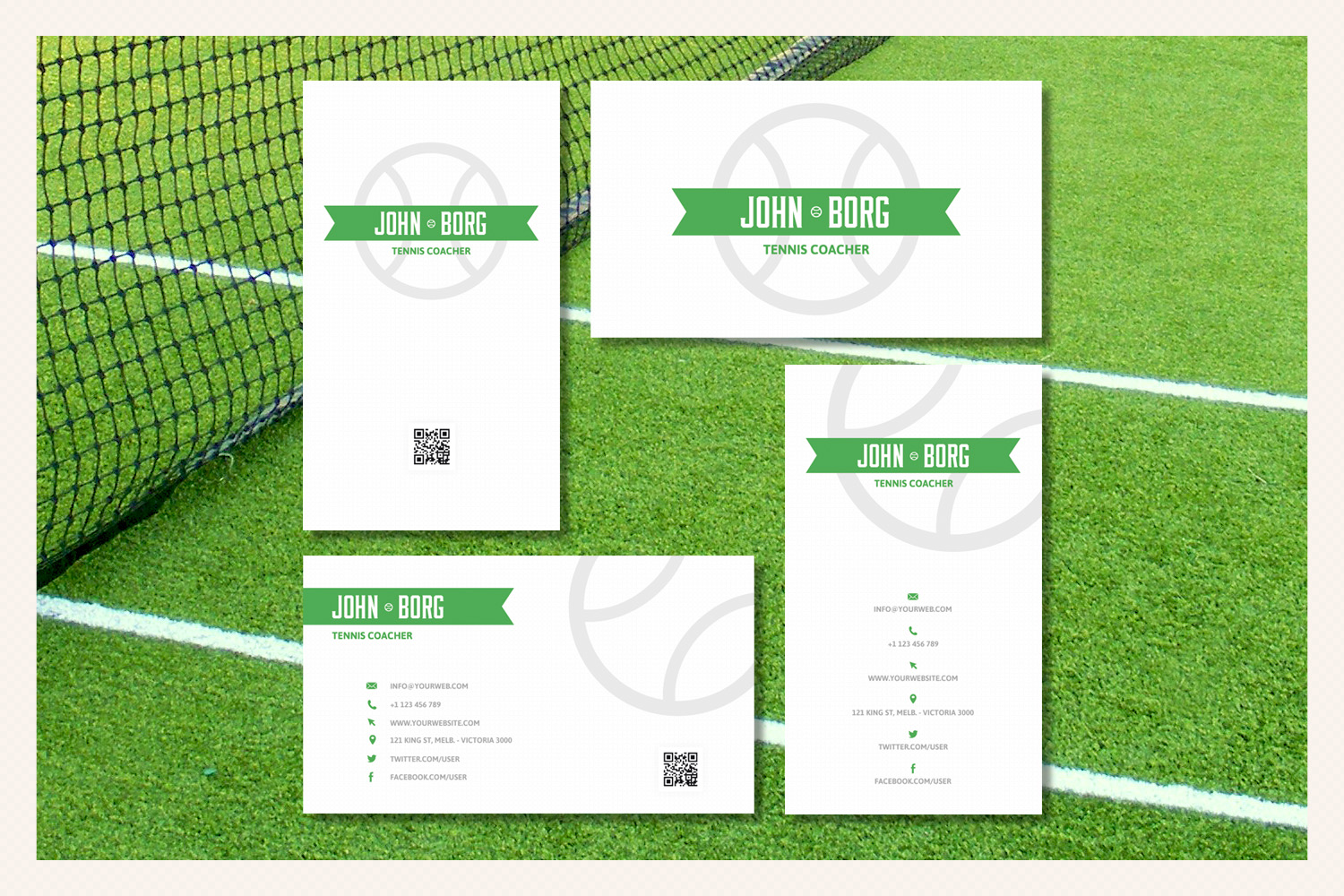 Download Free Tennis Sport Business Cards Graphic By Sargatal Creative Fabrica for Cricut Explore, Silhouette and other cutting machines.