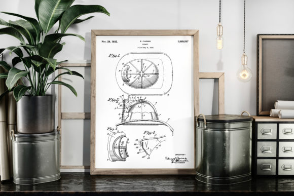 Download Free Vintage Patent Art Fireman S Helmet Graphic By Antique Pixls for Cricut Explore, Silhouette and other cutting machines.