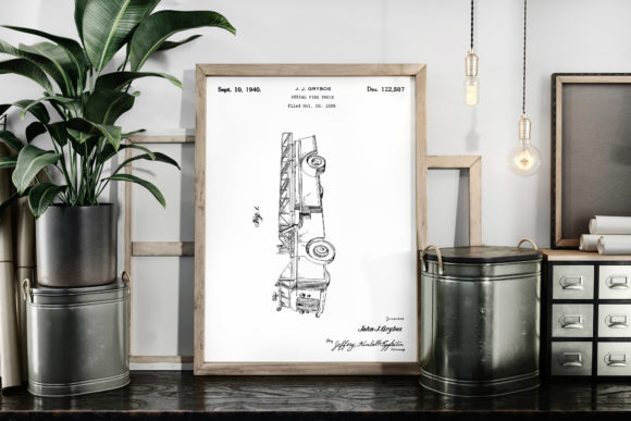 Download Free Vintage Patent Art Aerial Fire Truck Graphic By Antique Pixls for Cricut Explore, Silhouette and other cutting machines.