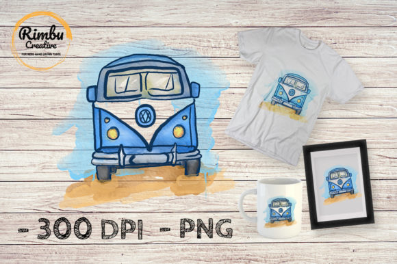 Watercolor Clipart Vintage Van Car   Graphic Illustrations By Rimbu Creative