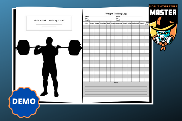 Download Free Weight Lifting Log Book Graphic By Kdp Interiors Master for Cricut Explore, Silhouette and other cutting machines.