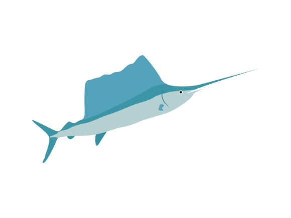Download Free Blue Marlin Fish Animal Graphic By Archshape Creative Fabrica for Cricut Explore, Silhouette and other cutting machines.