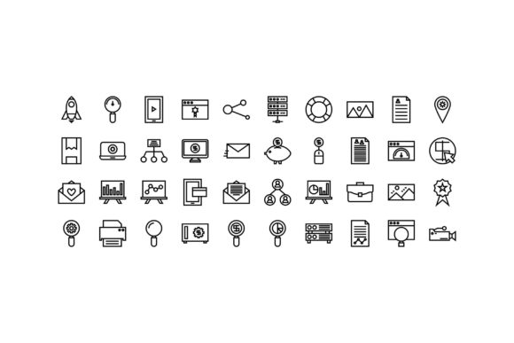 Digital Marketing Black and White Line I Graphic Icons By muhammadfaisal40