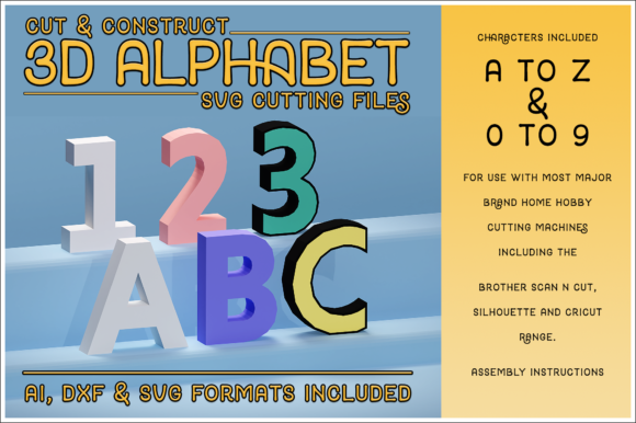 Download Free 3d Alphabet Numbers Cutting File Set Graphic By for Cricut Explore, Silhouette and other cutting machines.