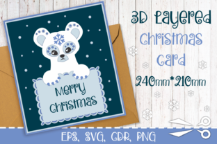 Print on Demand: 3D Layered Christmas Card with Bear Graphic 3D Christmas By Olga Belova