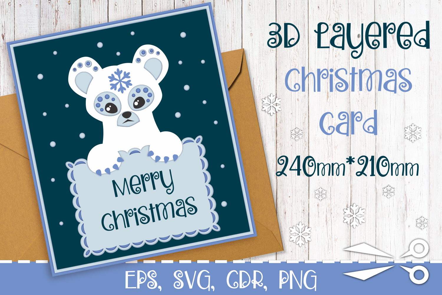Download Free 3d Layered Christmas Card With Bear Graphic By Olga Belova for Cricut Explore, Silhouette and other cutting machines.