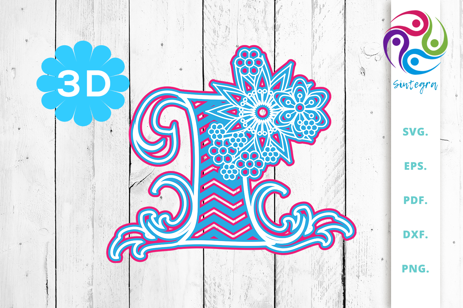 Download Free 3d Multilayer Floral Chevron Letter I Graphic By Sintegra for Cricut Explore, Silhouette and other cutting machines.