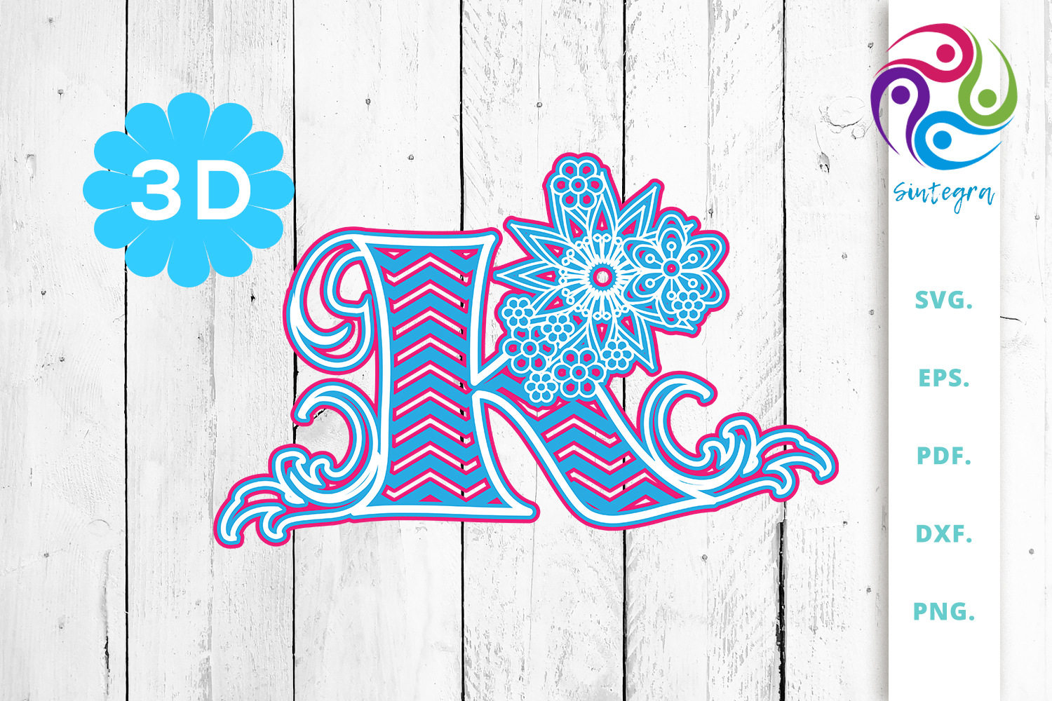 Download Free 3d Multilayer Floral Chevron Letter K Graphic By Sintegra for Cricut Explore, Silhouette and other cutting machines.