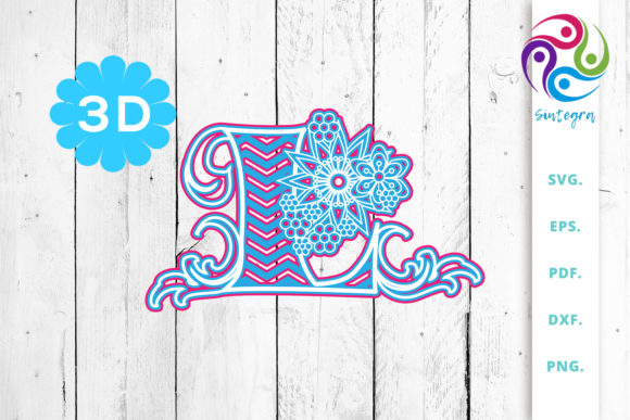 Download Free 3d Multilayer Floral Chevron Letter L Graphic By Sintegra for Cricut Explore, Silhouette and other cutting machines.