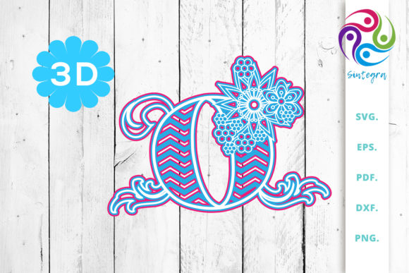 Download Free 3d Multilayer Floral Chevron Letter O Graphic By Sintegra for Cricut Explore, Silhouette and other cutting machines.