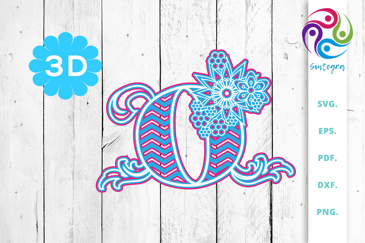 Download Free 3d Multilayer Floral Chevron Letter O Graphic By Sintegra SVG Cut Files
