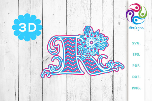 Download Free 3d Multilayer Floral Chevron Letter G Graphic By Sintegra for Cricut Explore, Silhouette and other cutting machines.
