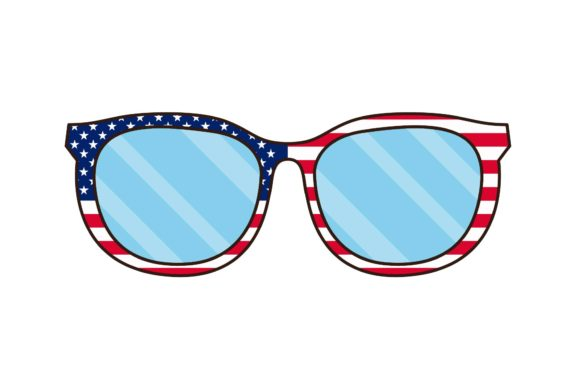 Print on Demand: 4th July Independence Day Glasses Graphic Illustrations By studioisamu