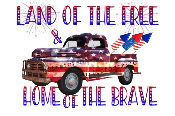 4th July Truck Sublimation Template Graphic Print Templates By aarcee0027